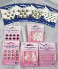 Snap Fasteners Poppers Press Studs Metal Plastic Small Medium Large Gold Silver