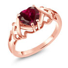 1.38 Ct Heart Shape Red Created Ruby Rose Gold Plated Sterling Silver Ring