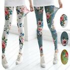 4 Color Trendy Women Sexy Thin Retro Flower Rose Print Leggings Tights Pants