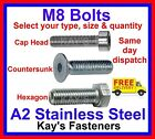 Kays Fasteners M8/8mm A2 Stainless Steel Bolts, Kayfast