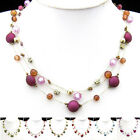 SX181-186 1 Set Fashional Frosted Cherry Silk Thread Necklace Bracelet Earrings