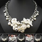 XB227 1pc Venetian Pearl Flower Leaves Silver Plated Chain Necklace Bracelet