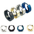 1 Pair Cool Stainless Steel Hoop Earring Black Blue Golden Silver for Men BF0U
