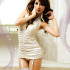 White Babydoll Lingerie Nightie Lace Chemise Corset Nightie Dress or+ Stockings