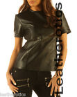 BNWT Genuine leather T-shirt light top celebrity vest with zip s m l
