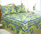 LEMON BLUE SOFT PROVENCAL BEDSPREAD & MATCHING PILLOWSHAMS  DOUBLE OR KING SIZE