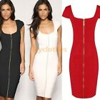Sexy women's zipper Bodycon scoop Neck Fitted Party pencil Dress US4-16 D488