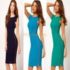 Sexy Women's Zipper Bodycon Vintage Pinup Fitted Party pencil Dress US4-16 D563