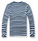 New Mens Long Sleeve T-Shirts Man Tees Crew Neck Striped Color Black/Blue White