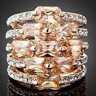 Topaz Clear Austrian Crystal 18K Rose Gold Plated Band Ring Fashion Jewelry