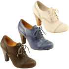 WOMENS BROGUE HIGH HEEL LACE UP ANKLE SHOE BOOTS 3-8
