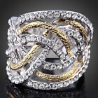 Fashion 18K Yellow / White Gold Plated Hollow Cocktail Ring Clear Crystal
