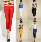 Womens Chic OL Candy Color Skinny Pencil Pants Casual Slim Trousers with Belt