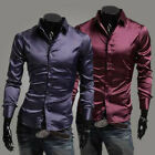 Casual Mens Glossy Slim Fit Stylish Dress Shirts Tee Tops 3 Color 4 Size MCL046