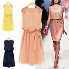 Korean Women Fashion Chiffon Sleeveless Shoulder Handmad Beads Dress Belt M L XL