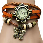 Artificial Leather Womens Bracelet Butterfly Wristwatch Quartz Wrist Watch BD1U
