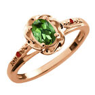 0.42 Ct Oval Green Tourmaline Red Garnet Rose Gold Plated Sterling Silver Ring