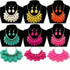 1Set Necklace Earrings Bright Candy Jelly Color Multi-Layer Acrylic Short Chain