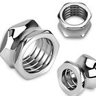 Pair (2) Steel Hexagon Bolt Hollow Ear Saddle Plugs Tunnels Earrings Gauges