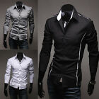 Men's Korean Fashion Stylish Casual Trim Slim Fit Dress Shirt Long Sleeve Black