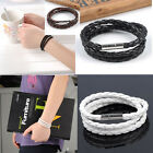 Braided Magnetic Clasp 3 Laps Wrap Leather Bracelet Handmade Men Women Fashion