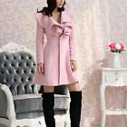 Fashion Women's Ruffled Collar Long Sleeve Outerwear Trench Coat Jacket 2 Colors