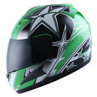 WOW Motorcycle Full Face Helmet Street Bike Adult Star Glossy Green S M L XL
