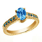1.28 Ct Oval Checkerboard Swiss Blue Topaz Blue Diamond 14K Yellow Gold Ring