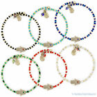 Hamsa Hand of Fatima Evil Eye Luck Charm Kabbalah Stackable Bangle Bead Bracelet
