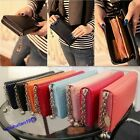 Elegant Lady' Zip PU Leather Colorful Clutch Case Lady Long Handbag Wallet Purse