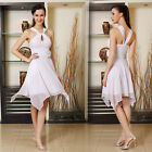 Ever Pretty Stylish Ruched Waist Flower White Asymmetric Party Dress 03887
