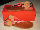 NEW COACH COCO Brown Sandals Shoes Flats Fluorescent Pink Leather $138