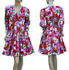 Size 8 10 12 14 Floral Day Dress Red Pink Green Yellow A Line 3/4 Sleeve Pleated