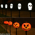 5 LED HALLOWEEN PUMPKIN OR SKULL STAKE LIGHTS OUTDOOR GARDEN NOVELTY PARTY 4M
