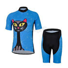 Blue Cat Cycling Bike Short Sleeve Clothing Bicycle Women  Jersey + Shorts Set
