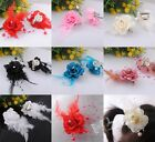 4/20x Flowers W/Feather Bead Hair Pins Brooch With Alloy Clip Wedding Deco JX004