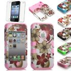 Flower Pattern Impact Combo Rugged Rubber Hard Case Cover For iPhone 4 4S / 5 5G