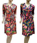 Peacock Print Cocktail Party Race Dress 3/4 Sleeve Size 22 20 18 16 14 12 10 New