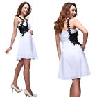 Black White One Shoulder Macrame Chiffon Cocktail Party Dress Prom Gown 03312
