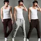 Mens Stylish Trendy Stretchable Harem Casual Trousers Baggy Pants Low Crotch Men