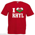I Love Heart Rhyl Wales Adults Mens T Shirt 12 Colours Size S - 3XL