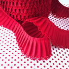 RED PICOT EDGE PLEATED TRIM EDGING RIBBON PLISSE red CHRISTMAS