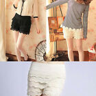 Womens Fashion Ladies Korean Sweet Cute Crochet Tiered Lace Shorts Skorts Pants