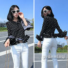 Vintage Women Polka Dot Frilly Chiffon Ruffle Fitted Peplum Tops Blouse Black S