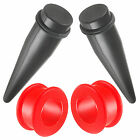 4pc ear gauge set acrylic tapers & double flared silicone tunnels 12g-15/16 9JGE