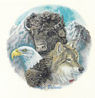 Ceramic Decals Buffalo Wolf Eagle Mountain Collage Animal Scene image
