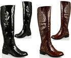 WOMENS LADIES KNEE HIGH LOW HEEL FLAT CROC PATENT RIDING  BOOTS ZIP FASHION SIZE