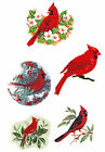 Ceramic Decals Red Cardinal Bird Floral Branch Asst. Designs image