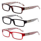 Rectangular Frame Reading Glasses Checkered Clear Design Many Strengths