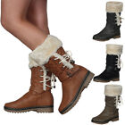 WOMENS FAUX FUR LINED LADIES QUILTED WINTER GRIP SOLE CALF BOOTS SHOES SIZE 3-8